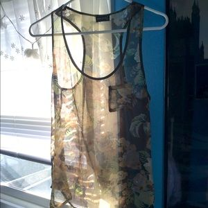 Wet Seal Olive Green Floral Transparent Tank